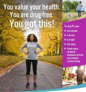 You value your health. You are drug-free. You got this! Community – The Anti-Drug (CTAD) awareness campaign at Deerfield and Highland Park High Schools